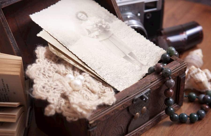 Vintage photo in a wooden case